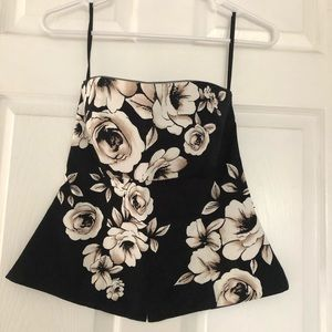 WHBM neutral floral bustier, lined boned 6